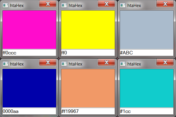 htaHex converting different colour codes into colours.